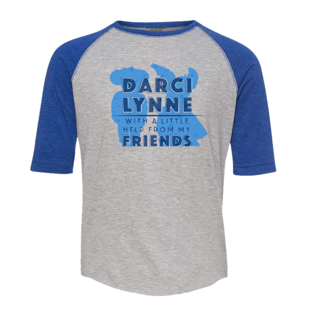 Darci Lynne youth Vintage Heather and Royal Raglan Tee